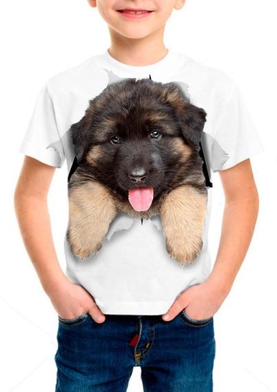 Camiseta Infantil Cachorro Filhote Pastor Alemão - M001