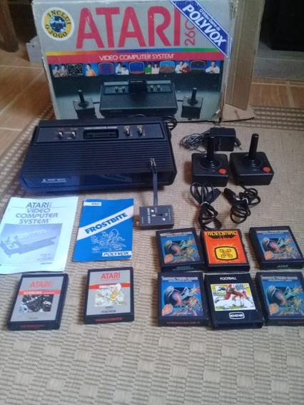 Atari 2600 Na Caixa Com Manual, 2 Controles,8 Cartuchos