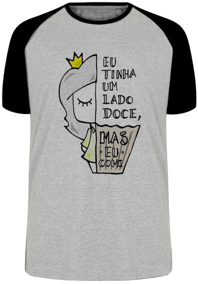 Camiseta Luxo Lado Doce Comi Cupcake Princesa Menina Garota