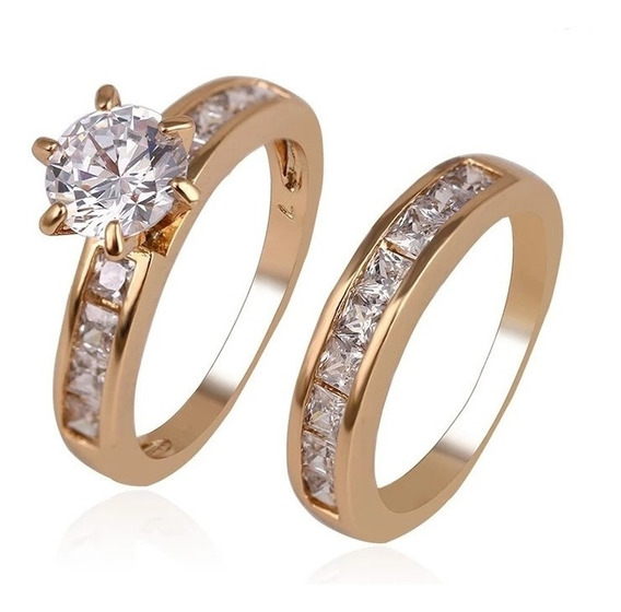 Set Anillos Oro 18k Brillantes 1.5 Ct Ak Jewelry Laminado