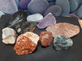 Lote 09 Pedras Cristais Minerais Brutos 875g Naturais 5cm
