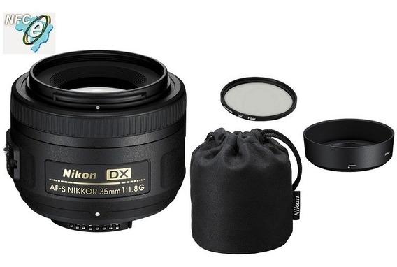 Lente Nikon 35mm F/1.8g Af-s Dx + Uv 52mm Nota Fiscal