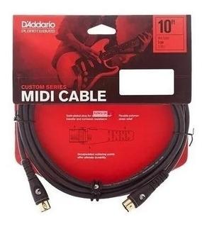 Cable Daddario Pw-md-10 Midi 5 Conectores Dorados 3 Metros