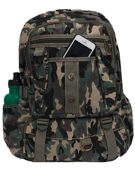 Mochila Escolar Masculina Verde Bolsa Camuflada Resistente