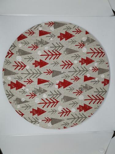 4 Fundas Para Plato Base Navidad Diseño Pinos Maximo 36cm