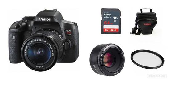 Câmera T6i C/18-55mm + Yn 50mm + 64gb + Bolsa + Filtro