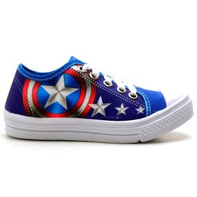 Tenis Herois Marvel Capitão América Infantil Azul