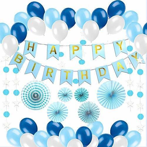 Decoraciones De Feliz Cumpleaños Azules Para Hombres Y Mujer