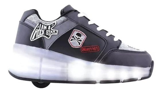 Zapatillas Footy Con Ruedas Y Luces Led Negra Fty Calzados