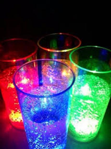 100 Vasos Trago Largo Luminosos Led Fiestas Con Boton