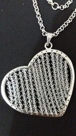 Semi Joia Colar Pingente Coração Fio + Pulseira Prata