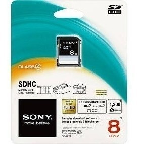 Cartão De Memoria Sd 8gb Sdhc Sony Original Lacrado
