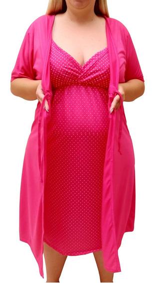 Jogo Gestante Plus Size Camisola + Robe Maternidade 026