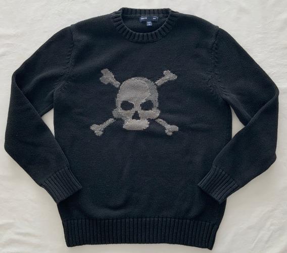 Gap. Sweater Negro Calavera . Niño. Talle 10 Años