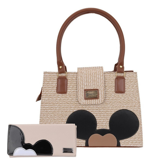 Bolsa Feminina Mickey Kit Com Duas Bolsas + Duas Carteiras