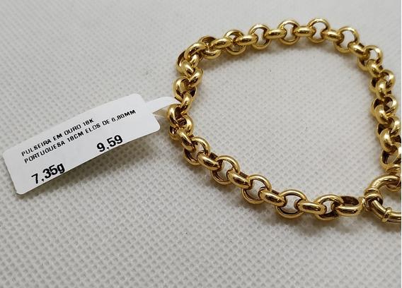 Pulseira Em Ouro 18k Portuguesa 18cm Elos De 6,80mm 7,35g