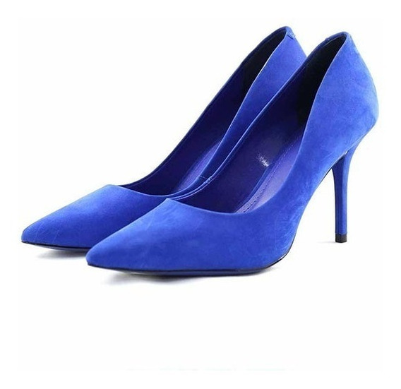 Scarpin Myshoes Azul Radiante Camurça Social Festa Evento