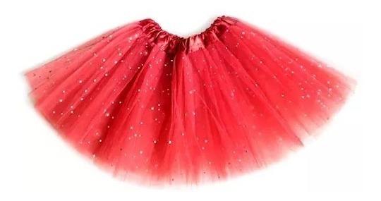 Saia De Tule Adulto Com Glitter Brilho Carnaval 40cm