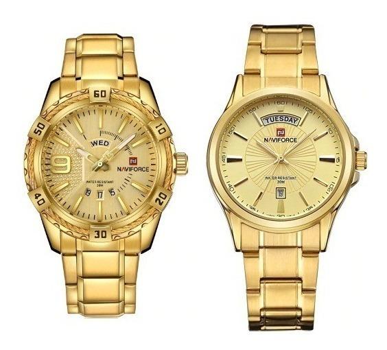 Relógio Dourado Naviforce Original