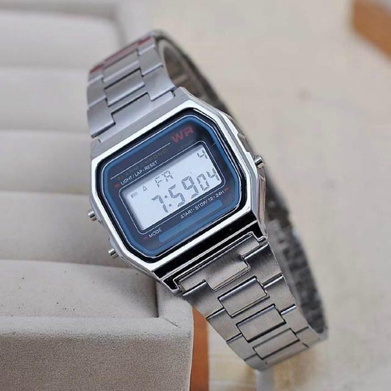 Relógio Prata Digital Feminino Aço Inox Frete Gratis