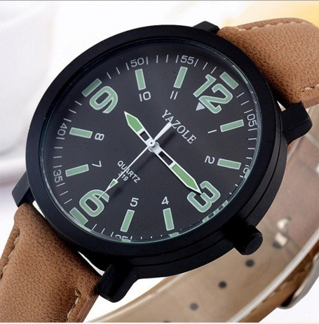 Relógio Masculino Yazole Couro Números Grande Modelo 319