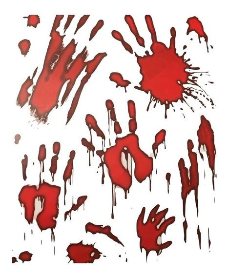 Sticker Manos Sangrientas Decoracion Ventanas Halloween
