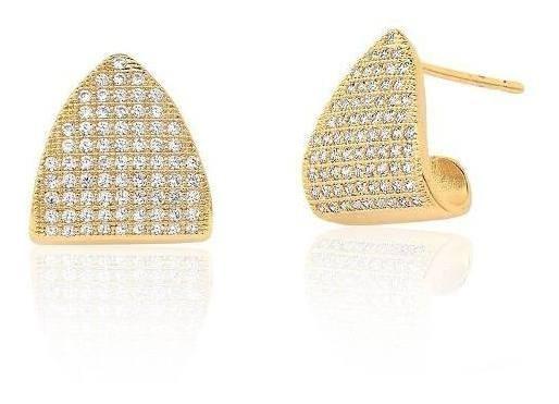 Brinco Feminino Triangular Cravejado Zircônia Folheado Ouro