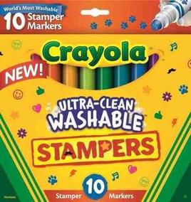 Kit 10 Canetinhas Whasable Stampers Mini Carimbos - Crayola