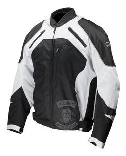 Chamarra Motociclista Fulmer Traction Bla/neg Protección Int