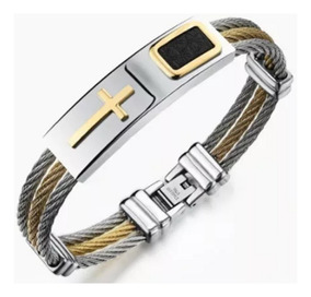 Pulseira Cruz Templaria Malta Bracelete Masculina Aço