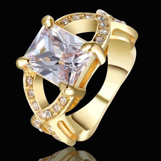 Aro 15 Anel Feminino Cristal Quartzo Branco Banho Ouro 572 P