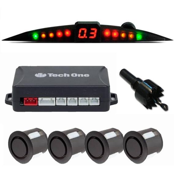Sensor Estacionamento Re Preto Fosco Com Display Slim