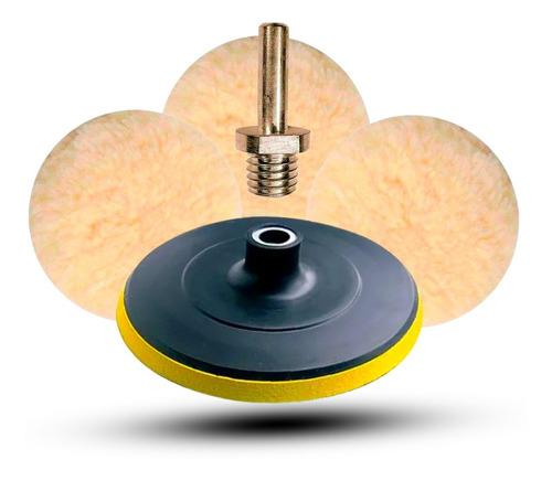 Imagem 1 de 6 de Kit Polimento Automotivo Disco 125mm Furadeira C/3 Boinas Lã