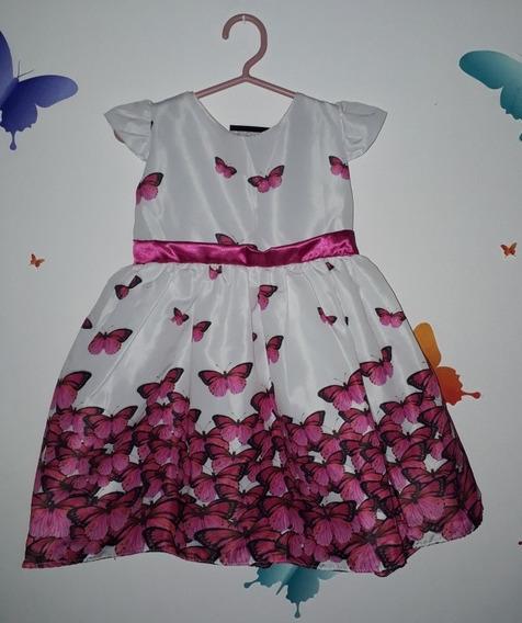 Vestido Casual Infantil Borboletas