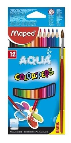 Imagen 1 de 3 de Lapices De Colores X12 + Pincel Maped Aqua Colorpeps 836011