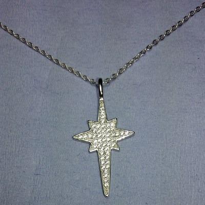 Colar Prata 925 Feminino Pingente Estrela C/zircônia