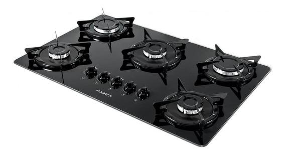 Fogão cooktop a gás Fogatti V500X preto-esmaltado 110V/220V