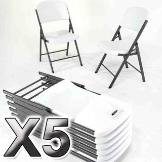 5 Sillas Plegable Resel De Plastico Y Acero Para Exterior