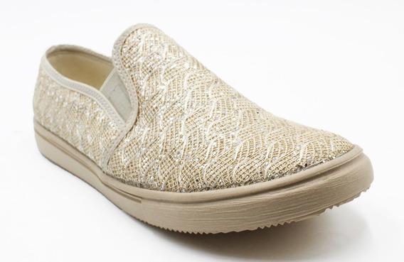 Zapato Tipo Flats Mujer Casual Moda Dorado-plateado (a05)