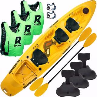Kayak Rocker Warrior 3 Chalecos Salvavidas 3 Butacas Pitas