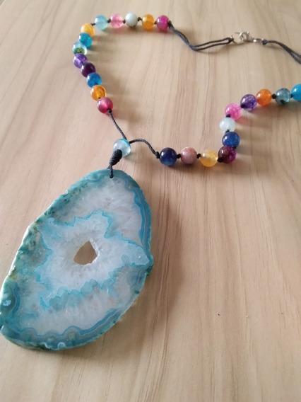 Collar De Cristal Piedras Naturales Agata Geoda Grande