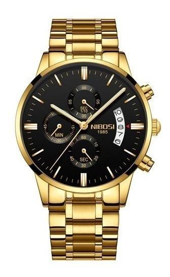 Relógio Nibosi Original Dourado/preto Pronta Entrega + Caixa