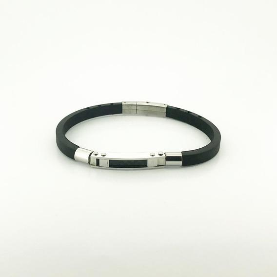 Bracelete Rosso Silicone 21cm Placa Prata.