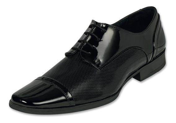 Zapato Hombre Vestir Formal Negro Charol Cómodo