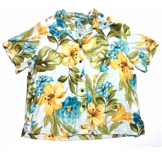 Camisa Hawaiana Floreada Tropical Floreada Surf Mujer Xxl