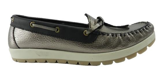 Zapato Kaprise Mocasin Dama Cuero Color Peltre Divinos! 4565