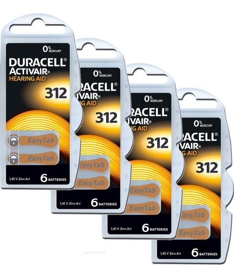24 Baterias Aparelho Auditivo Duracell 312 Pr41 - 4 Cart