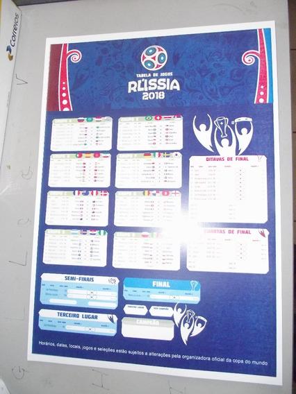 Tabela Copa 2018 42cm X 30cm Papel Cartao Sulfite 240 Gramas
