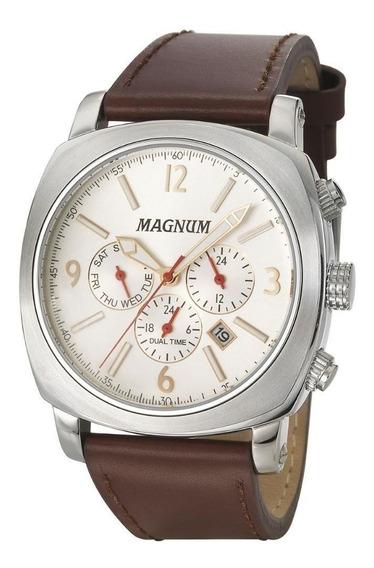 Relógio Magnum Masculino Ma34512q Couro Marrom Social