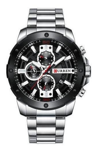 Relógio Preto Social Luxo Curren 8336 Funcional